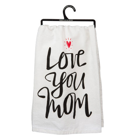 "Dish towel with black text on it ""Love you mom"" it has a red heart."