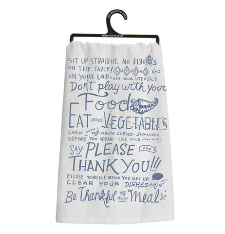 A fun eat your veggies cotton dish towels with blue print.