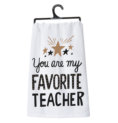 "This picture of a white Dish Towel says ""You Are My Favorite Teacher"" hanging on the black hanger."