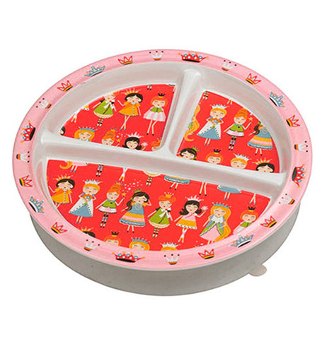 Childs plate with princesses on it.