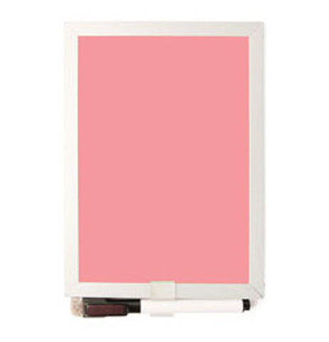 This is a pink dry erase board with a black pen for writing.