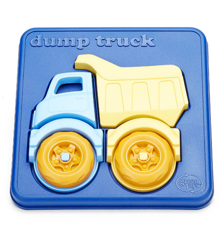 This Dump Truck puzzle has a blue background with two orange wheels, a light blue truck, and yellow dump buket.