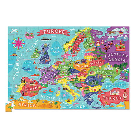 200 piece puzzle of Europe put together.