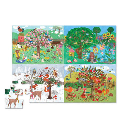 "The ""Four Seasons"" Puzzles has all the pieces put together except one and shows the same tree during all four seasons."