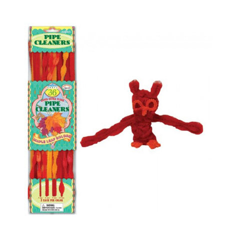 its a picture of all the pipe cleaners in its packaging next to an owl made out of pipe cleaners.