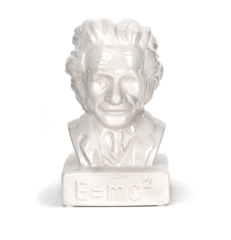 This bank is a white statue of the head of Albert Einstein.
