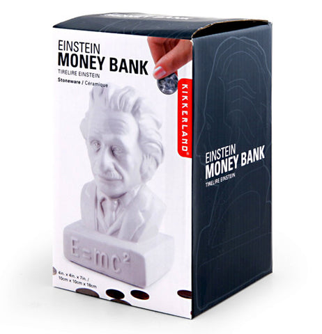 Outside package of the Albert Einstein statue bank.