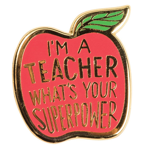Superpower pin in the shape of a red apple with a green leaf stem.