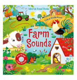 "This book has a front cover featuring an illustration of a farm with a calf, a tractor ploughing the field, a hen house with a hen and a baby chick inside with a rooster crowing on top, and a barn behind it. Red lettering against a small blue pond background spells the title, ""Farm Sounds"". At the bottom is the small speaker for the book's sounds."