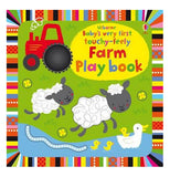"This children's farm book depicts sheep, ducks, and a red tractor on the front cover. The title, ""Usbourne's Baby's Very First Touchy-Feely Farm Play Book"" is shown in multi-colored lettering."