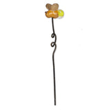 Mini garden firefly pick has glass yellow tail, orange body, and gold wings.