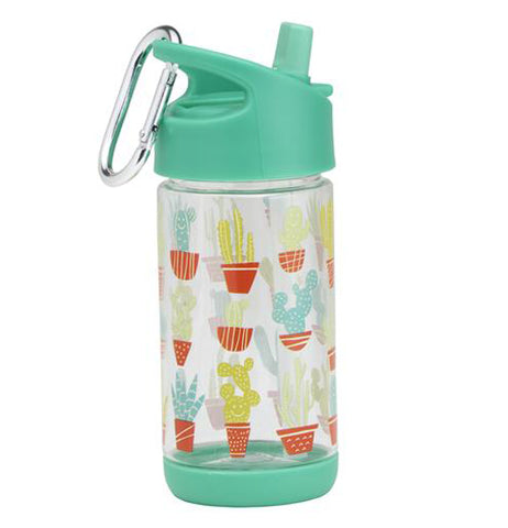This 12 ounce teal see-through container is festively decorated with pastel potted cacti.
