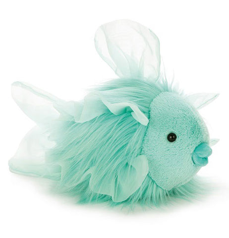 This is a teal stuffed toy fish with mesh fins, wispy fur, puckered teal lips, and black plastic pellet eyes.