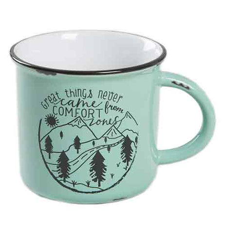 "The close-up of the blue-green Camp Mug that says, ""Great Things Never Come From Comfort Zones"" has an illustration of a road winding through mountains and forest."