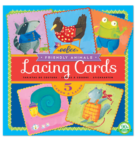 The cover of the lacing cards box has an image of each card in the set: a raccoon, crow, frog, snail, and squirrel. The words Lacing Cards are written in white cursive atop a red rectangle background.
