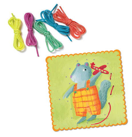 These five laces, yellow, purple, green, blue, and orange, are made for the lace card of a squirrel