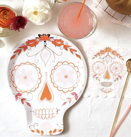 "The ""Sugar Skull"" Paper Plate works well on the dinner table with other accessories."