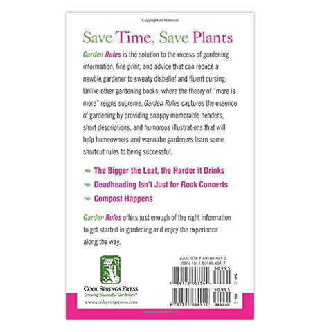 The Back cover of the Garden Rules book has a description of what the book is about in green, magenta, and black lettering.