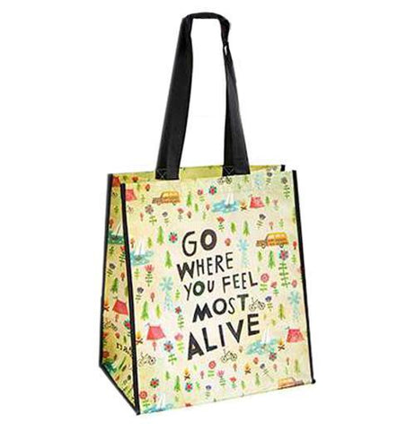 "A very colorful shopping bag that says ""Go where you feel most alive."""