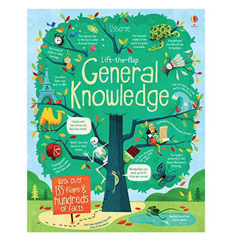 "A giant green tree bearing the title ""Lift-The-Flap General Knowledge"" with over 135 flaps and hundreds of facts"