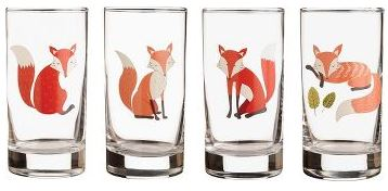 """Fox"" Juice Glasses Set of 4"