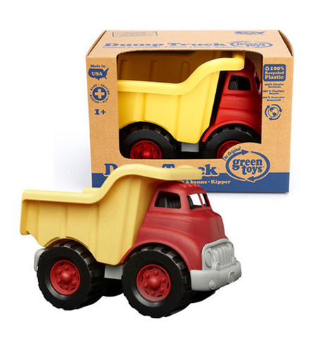 Red and yellow dump truck made from recycled materials