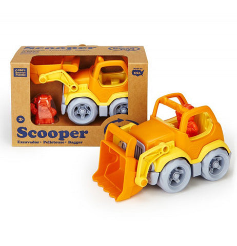 The Scooper is a toy truck that features a movable front and its own bulldog construction worker with one already packaged.
