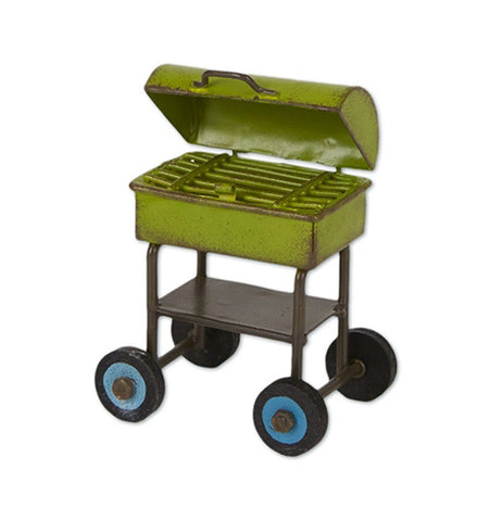 Mini bbq grill that is green, black and blue. It's on wheels.