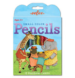 "This little box of colored pencils features a giraffe, bear, tiger, and elephant all wearing clothes and dancing in a circle with green grass and an opening with the colored pencils showing to depict a rainbow behind them. Above them are the words, ""Small Color Pencils"" in purple lettering."