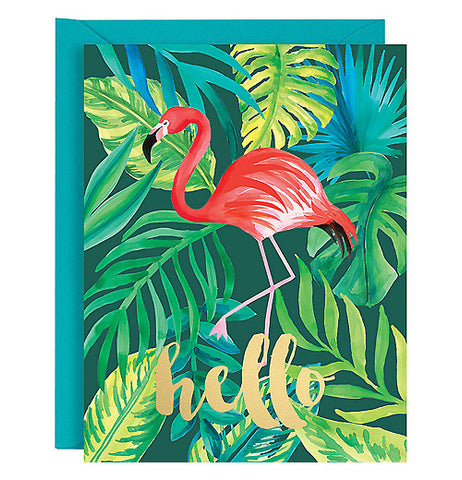 These flamingo Note cards have tropical forest looking leaves and a tall pink flamingo on it with hello  printed on it with gold foil.