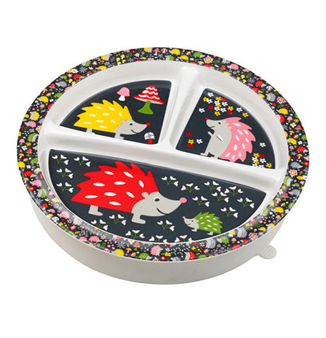 Baby plate with hedgehogs on it.
