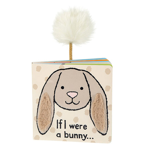 "the front cover of this kids book shows a brown bunny with textured fur ears and ""If I were a bunny..."" written on it and a bunny tail pocking out from the back cover"