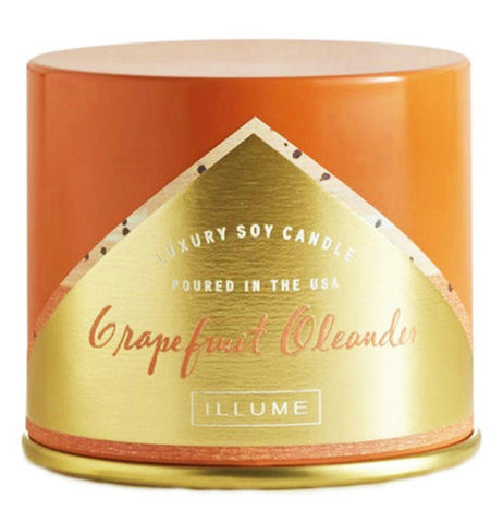 The tin is orange with a gold triangle.