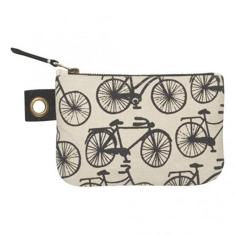 The small pouch has a pattern of black bicycles on it.
