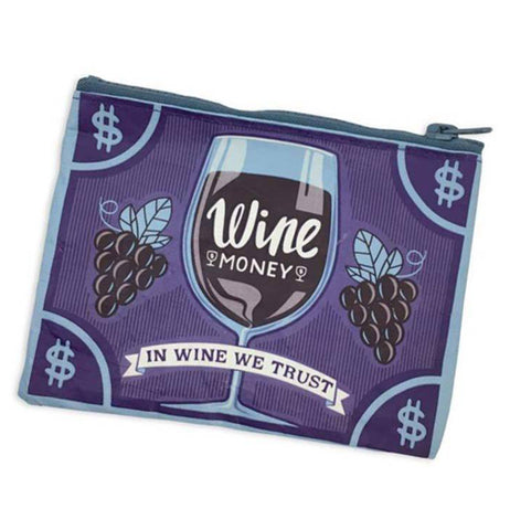 "The front of the purple coin purse is shown with the design of a wine glass, some dark purple wine berries, and a white banner with the words, ""In Wine We Trust"" in purple lettering."
