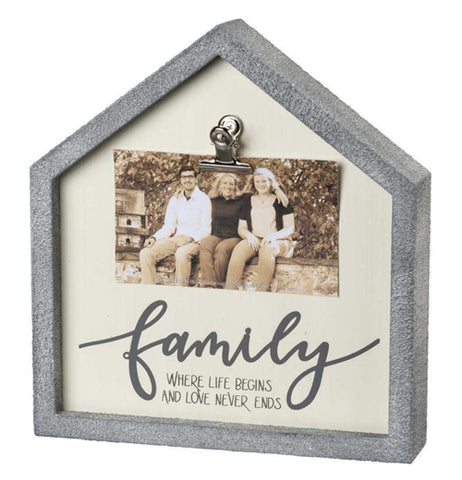 "The Inset ""Family"" Box Frame has a photo with the message that reads, ""Family: Where Life Begins and Love Never Ends"" in black words with the outside gray house shaped photo holder."