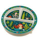 Baby plate with mermaid and sea life on it.