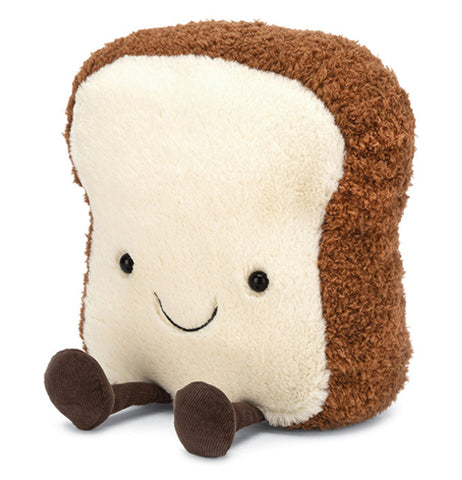 "Medium Amusable ""Toast"" plush with smiley face over white felt body and brown felt crust body with dark brown felt feet sticking out."