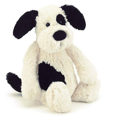 a picture of a white puppy with black spots