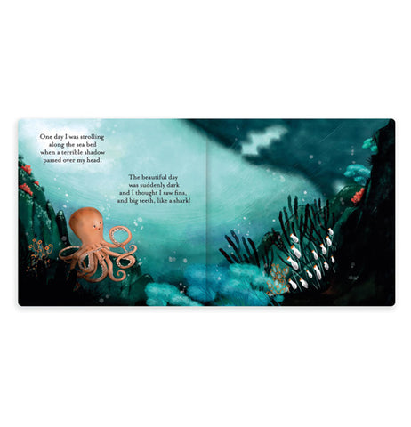 Two pages of the book are open showing the octopus on the left page. The right of the book is shown in darker shadows, and the text on the left page explains how the water seems to start going dark.