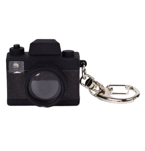 This is a black led key ring camera.