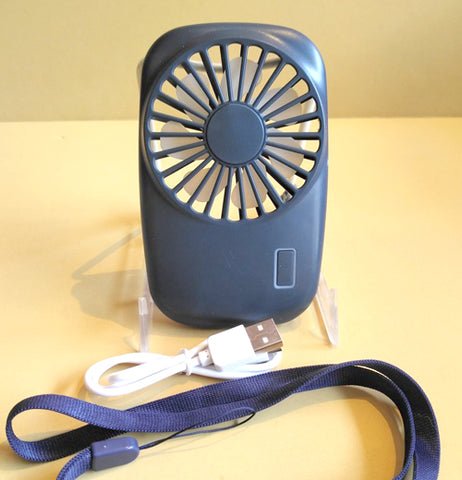 "The ""Blue Pocket Tornado"" Fan has the attachment of the USB cord on your desktop or laptop that makes it rechargeable."