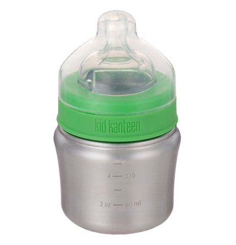 This brushed stainless steel 5 oz baby bottle has a green screw on lid and a clear nipple and clear cap.