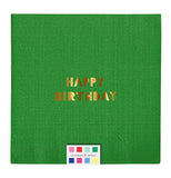 "Green napkins that says ""Happy Birthday."" Shows color swatch of the other napkins."