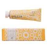 This is Lollia hand cream in a yellow flowered container with a white top.