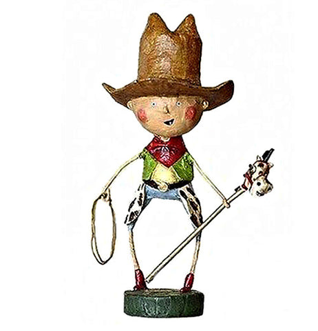This figurine is of a cowboy with a large hat riding a stick horse and holding a lasso.