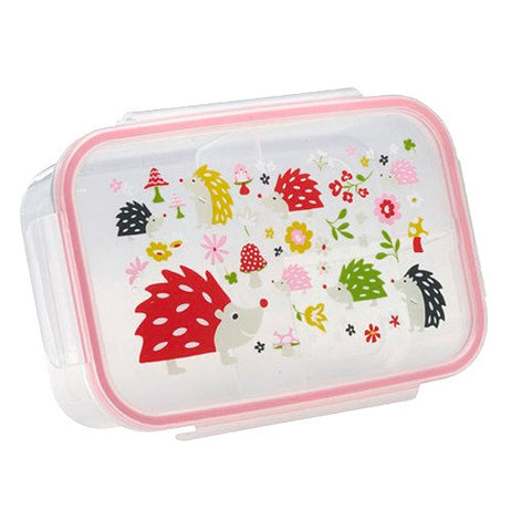 This lunch box is shown with a design of porcupines in different sizes and with many colors.