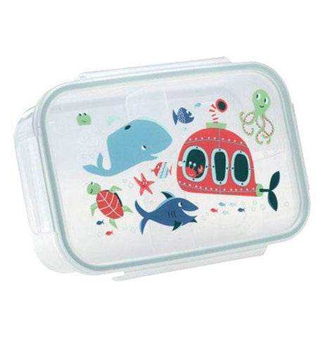 This lunchbox container features an ocean scene with a submersible, sharks, whales, fish, octopus, and a sea turtle.