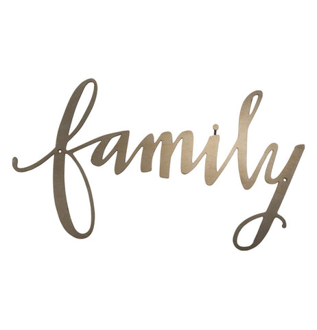 "A metal cutout sign of the word ""Family"" in gold cursive letters"