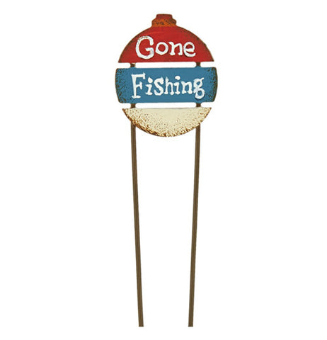 "Red, white and blue mini ""Gone Fishing"" sign pick"